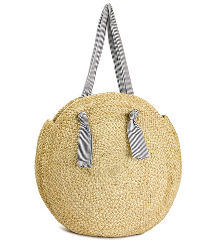 Oversized Circular Jute with Striped Fabric Handle