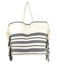 Load image into Gallery viewer, Striped Beach Tote Bag with Tassel Sides - Just Jamie