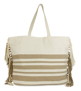 Striped Beach Tote Bag with Tassel Sides - Just Jamie