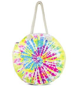 Tie Dye Circular Canvas Beach Tote - Just Jamie
