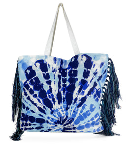 Tie Dye Side Fringe Canvas Beach Tote - Just Jamie