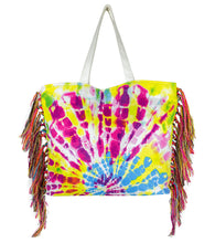 Load image into Gallery viewer, Tie Dye Side Fringe Canvas Beach Tote - Just Jamie