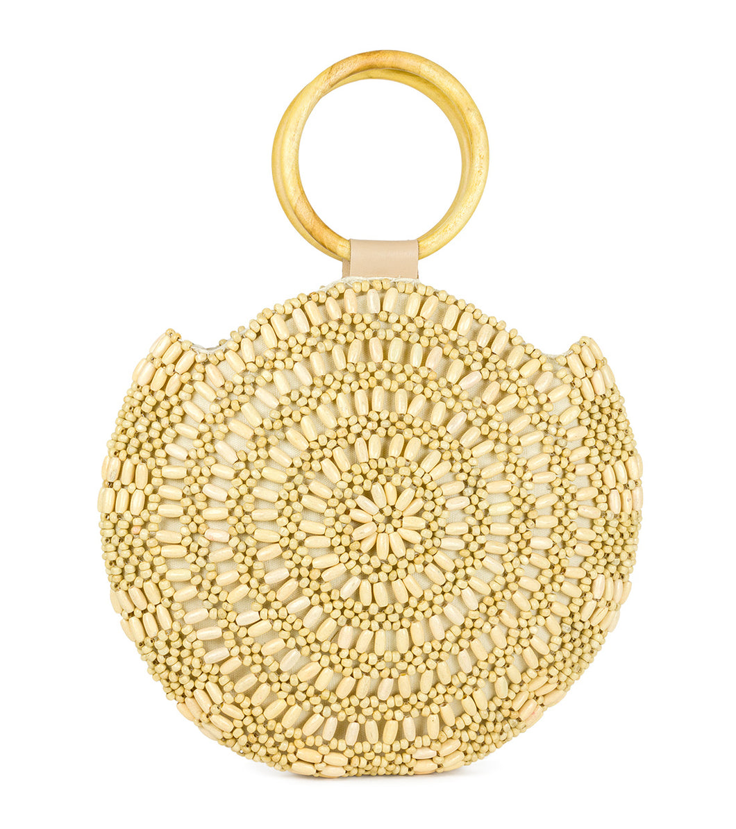 Beaded Circle Bag with Wooden Handle - Just Jamie