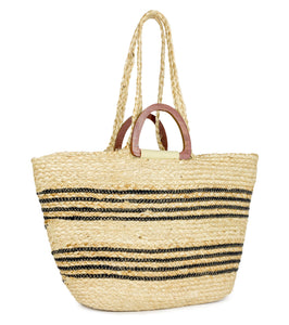 Striped Jute Tote Bag with Double Wood Handle - Just Jamie