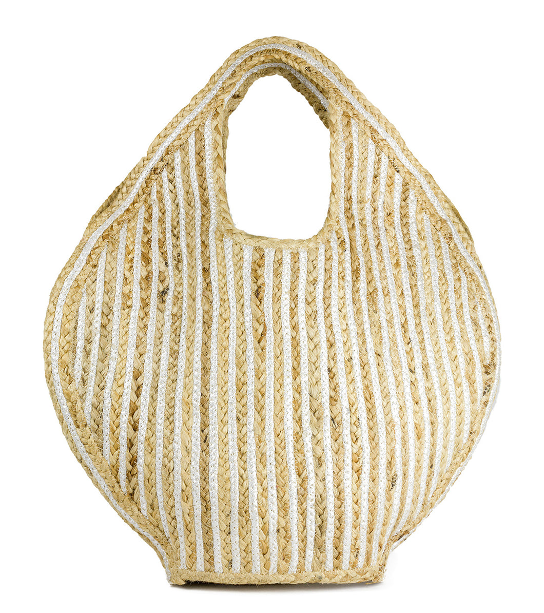 Oversized Striped Jute Beach Tote Bag - Just Jamie