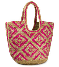 Load image into Gallery viewer, Geometric Jute Beach Tote Bag - Just Jamie