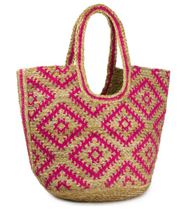 Geometric Jute Beach Tote Bag - Just Jamie