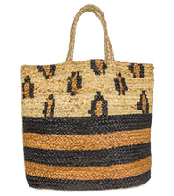 Load image into Gallery viewer, Striped Leopard Jute Tote Beach Bag - Just Jamie