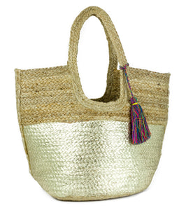 Metallic Colorblock Jute Tote with Tassel - Just Jamie