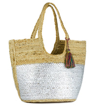 Load image into Gallery viewer, Metallic Colorblock Jute Tote with Tassel - Just Jamie
