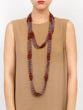 Load image into Gallery viewer, Crochet Beaded Necklace Scarf with Silver Beads - Just Jamie