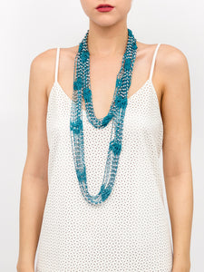 Crochet Beaded Necklace Scarf with Silver Beads - Just Jamie