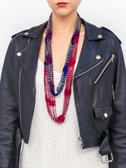 Crochet Colorblock Necklace Scarf with Silver Beads - Just Jamie