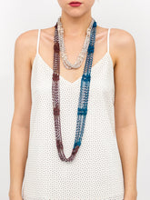 Load image into Gallery viewer, Crochet Colorblock Necklace Scarf with Silver Beads - Just Jamie
