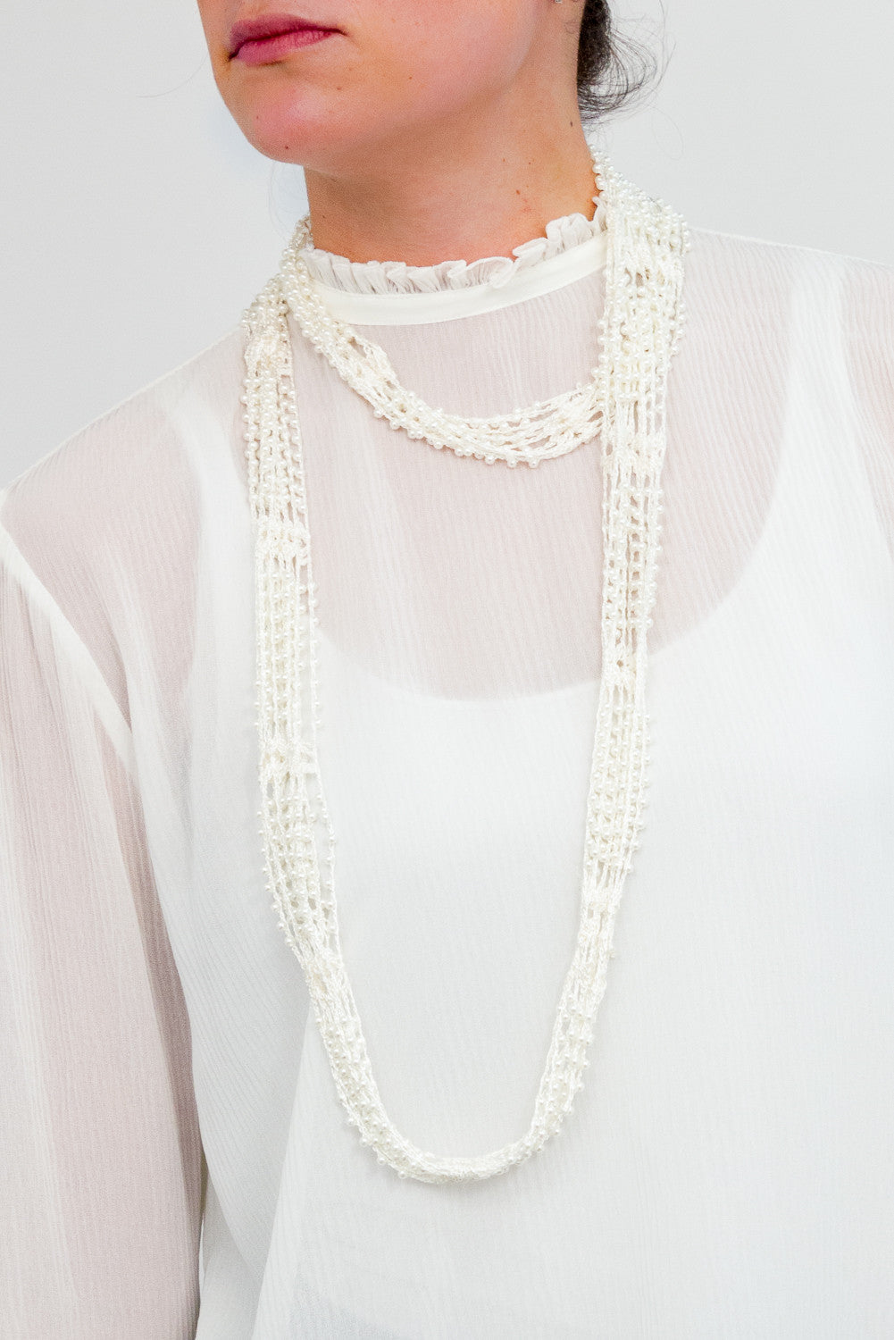 Crochet Pearl Necklace Scarf - Just Jamie