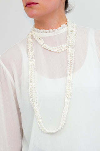 Crochet Pearl Necklace Scarf