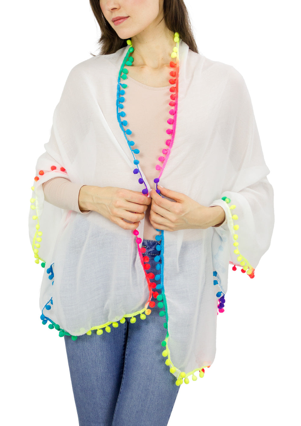 Multicolor Pom Pom Shawl - Just Jamie