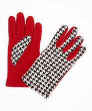 Load image into Gallery viewer, Houndstooth with Crimson Reverse Gloves - Just Jamie