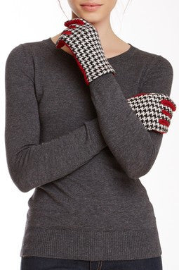 Houndstooth with Crimson Reverse Gloves - Just Jamie