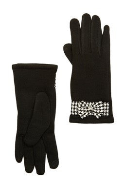 Touch Tone - Solid Glove with Houndstooth Bow
