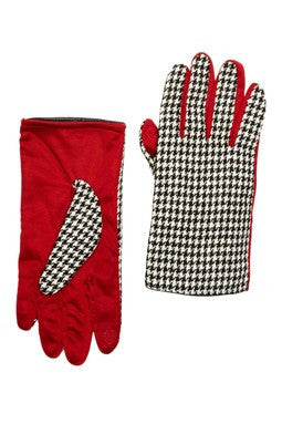 Touch Tone - Houndstooth with Crimson Reverse Gloves