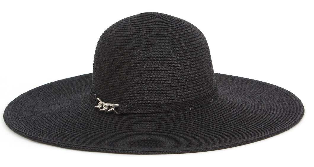 Solid Floppy Hat with Chain Detail - Just Jamie