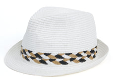 Two Tone Braided Band Fedora - Just Jamie