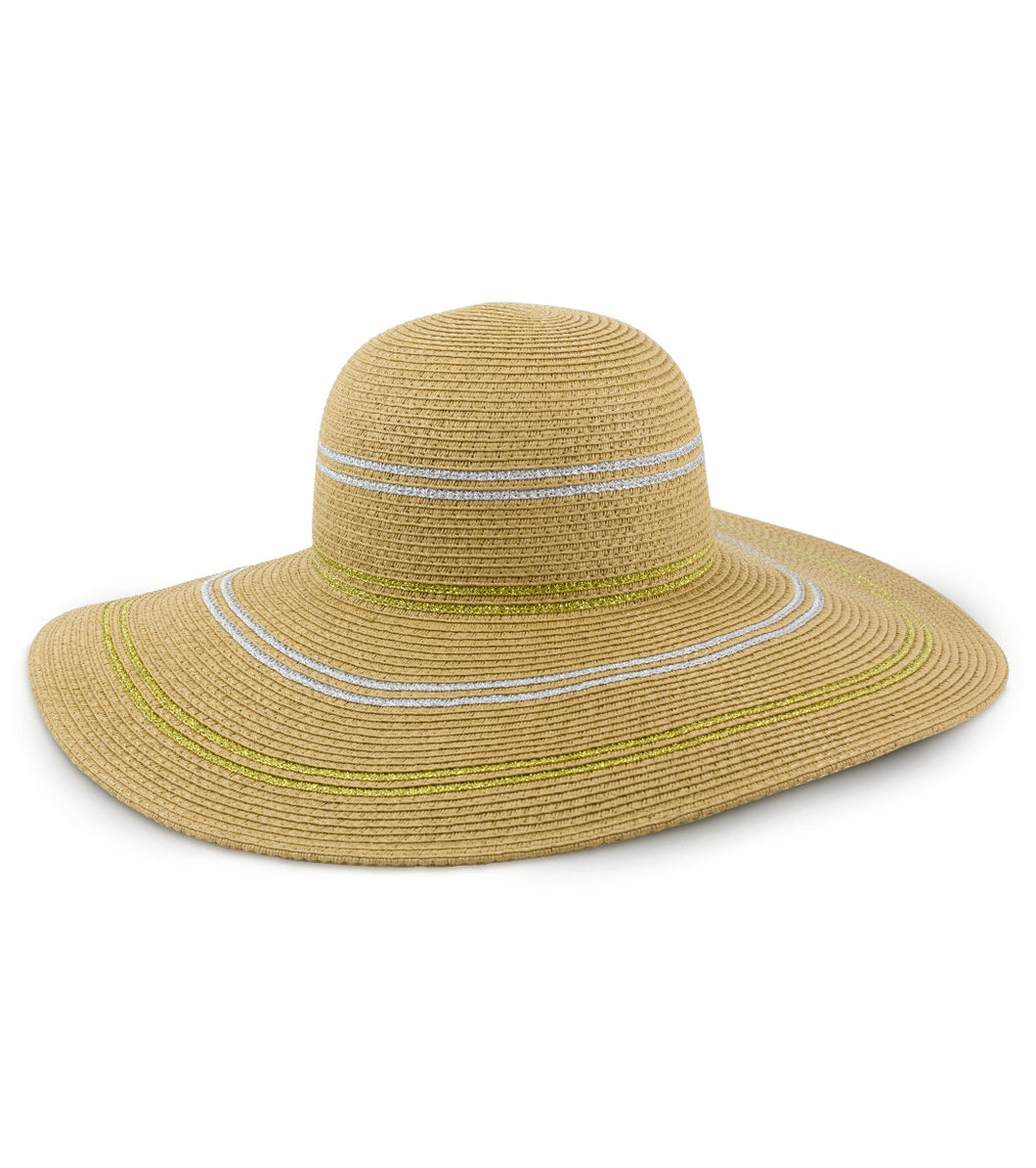 Striped Metallic Straw Floppy Hat - Just Jamie