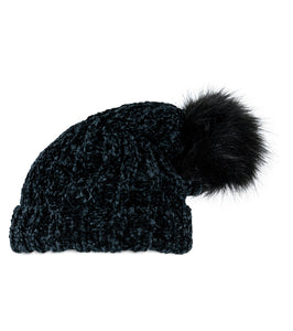 3096d28f90bfb Solid Slouchy Chenille hat with Pom Pom - Just Jamie