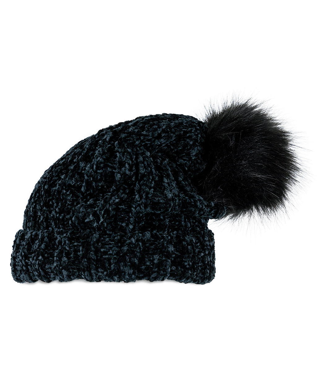Solid Slouchy Chenille hat with Pom Pom - Just Jamie