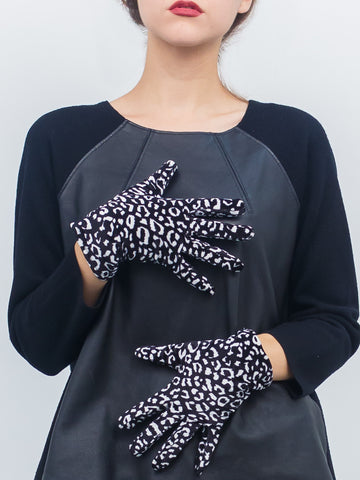 Funky Leopard Velveteen Gloves - Just Jamie