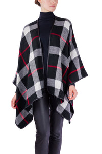 Plaid Woven Ruana with PU Trim - Just Jamie
