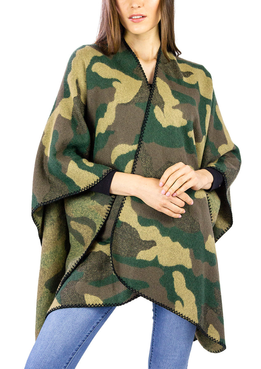 Camo Ruana with Whip Stitch - Just Jamie
