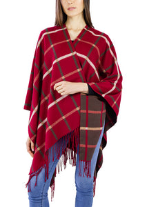 Copy of Lightweight Plaid Ruana with Fringe - Just Jamie