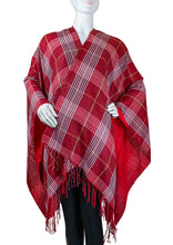 Load image into Gallery viewer, Lightweight Plaid Ruana with Fringe - Just Jamie