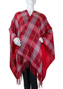 Lightweight Plaid Ruana with Fringe - Just Jamie