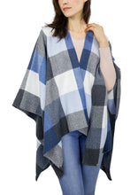 Load image into Gallery viewer, Colorblock Plaid Brushed Ruana - Just Jamie