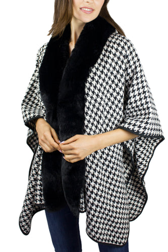 Thick Houndstooth Ruana with Mink Trim - Just Jamie