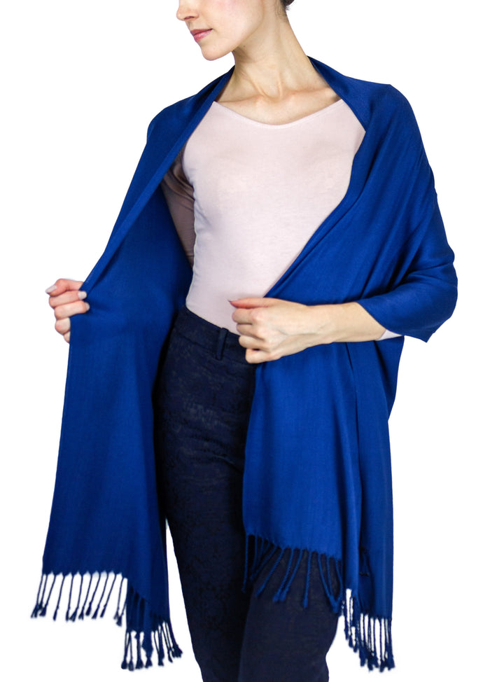 Solid Viscose Pashmina Shawl with Fringes - Just Jamie