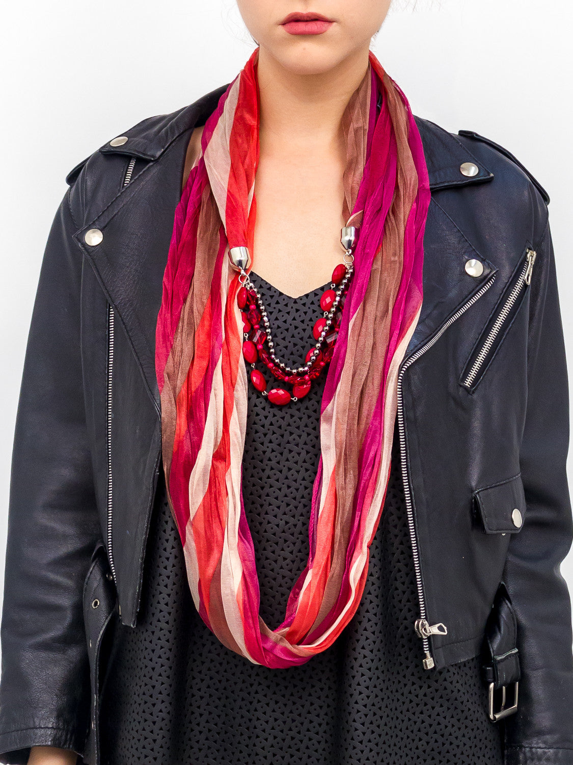 Jewelry Striped Tonal Scarf