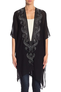 Rhinestone Dressy Kimono with Thick Border - Just Jamie