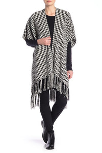 Houndstooth Chenille Kimono with Tassels - Just Jamie