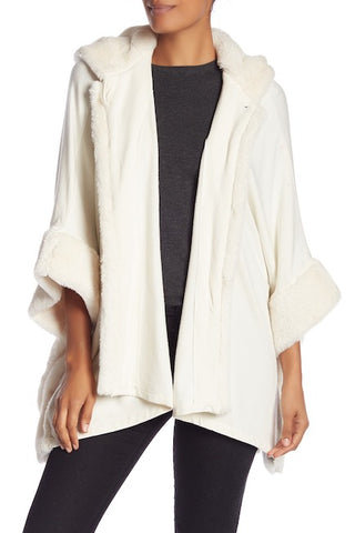 Solid Kimono with Faux Fur Trim and Hood - Just Jamie