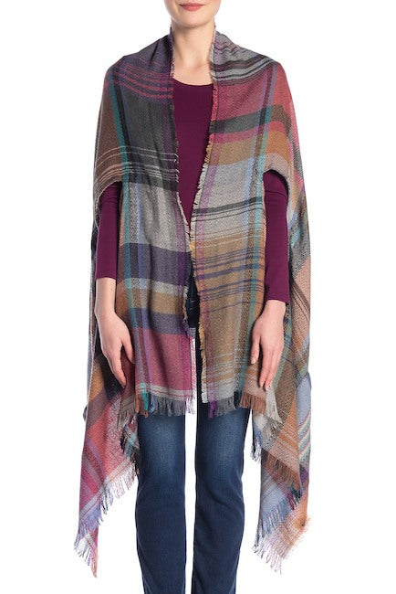 Plaid Blanket Wrap Kimono with Pockets - Just Jamie