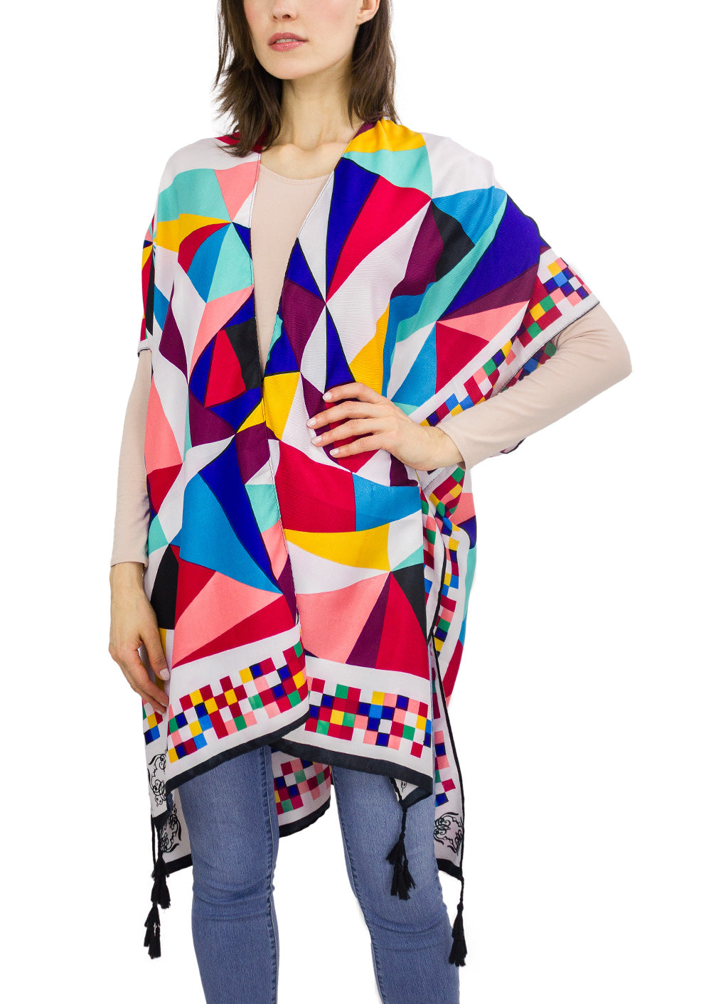 Multicolor Geometric Kimono with Tassels - Just Jamie