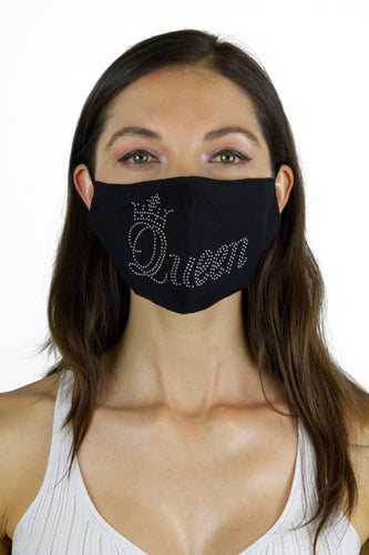 Queen Rhinestone Bling / Solid Black Face Covering -2pc pack - Just Jamie