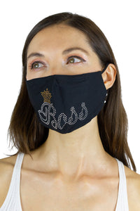Boss Rhinestone Bling / Solid Black Face Covering -2pc pack - Just Jamie