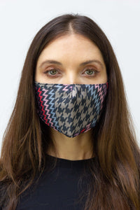 Houndstooth Chevron Face Mask - Just Jamie