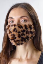 Load image into Gallery viewer, Leopard Faux Mink Fur Facemask Covering - Just Jamie
