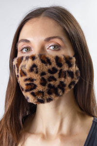 Leopard Faux Mink Fur Facemask Covering